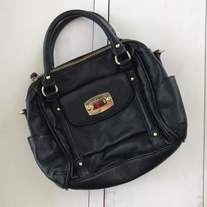 Faux leather black handbag with gold hardware